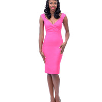 Hot Pink Tank Diva Wiggle Dress - Unique Vintage - Prom dresses, retro dresses, retro swimsuits.