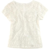 Crochet Lace T-shirt with Single Patch Pocket