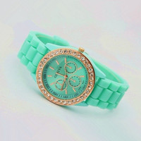 Mint Color Silicone Watch 02