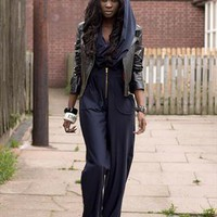 'ENIGMA' draped hooded jumpsuit from Dancing Dolls UK