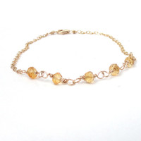 Golden citrine bracelet -  delicate bracelet - November birthstone - gemstone bracelet - wire wrapped - gold filled