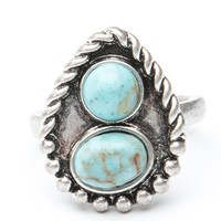 Brandy ♥ Melville |  Tear Drop Turquoise Stone Ring - Just In