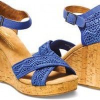 Cobalt Crochet Women's Strappy Wedges | TOMS.com