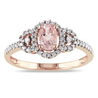 Miadora 10k Pink Gold Morganite and 1/6ct TDW Diamond Ring (H-I, I2-I3) | Overstock.com