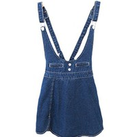 Pinafore Denim Dress with Vent Hemline