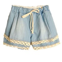 Drawstring Waist Denim Shorts with Lace Insert