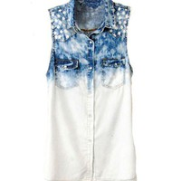 Sleeveless and Oversized Denim Blouse in Tie Dye