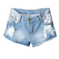 Distressed Denim Shorts with Raw Edges and Lace Insert