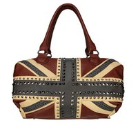Flag Print Tote Bag with Stud Embellishment