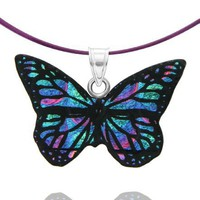 Sterling Silver Dichroic Glass Green and Purple Butterfly Pendant on Stainless Steel Wire, 18""