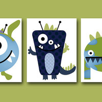 "Childrens Art Kids Wall Art Baby Boy Room Decor Baby Boy Nursery kids art Baby Nursery print set of 3 8""x10"" Nursery Art monsters green blue"