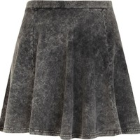 Grey acid wash denim-look skater skirt