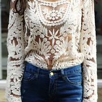 Semi Sheer Sleeve Embroidery Lace Crochet T-shirt Top from allooks