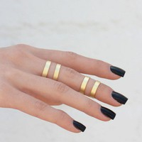 Double Pack Cuff Rings - MATTE GOLD