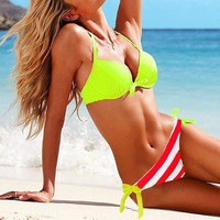 Lime Halter Top Striped Side-tie Bottom Swimsuit