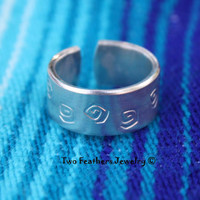 Spiral Ring - Hand Stamped Ring - Native American Inspired - Spiral Symbol - Wide Band Ring - Thumb Ring - For Her - For Him - Ring Size 7