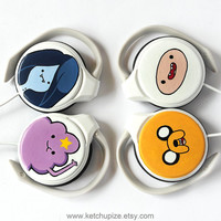 Adventure Time handpainted clip headphones - Marceline - Lumpy space princess - purple lilac blue navy