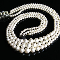 Vintage Faux Peal Necklace - Three Strand Signed Sarah Cov Costume Jewelry / Elegant Layers