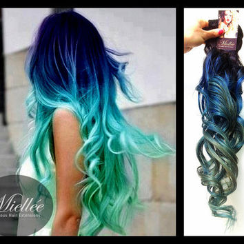 black to turquoise ombre hair - photo #10