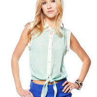 Papaya Clothing Online :: TRIMMED SELF TIE BLOUSE