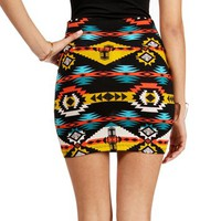 Multi Color Tribal Print Mini Skirt