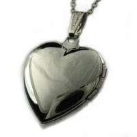Sterling Silver Heart Locket Pendant with 18 Inches Chain