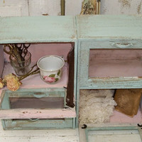 Distressed seafoam and muted pink display case set shabby chic wall or table decor Anita Spero