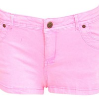 Pink Washed Neon Hotpants