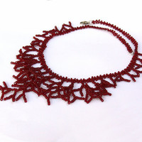 Dark Red Necklace. Bridesmaid Necklace.  Beadwork