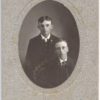 Vintage Victorian Cabinet Card, early 1900s. Knox brothers Blyth Ontario, H.R. Brewer Photographer