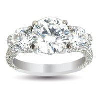 4.85 Ct GIA Certified Diamond &#x27;Loop Style&#x27; Engagement Ring