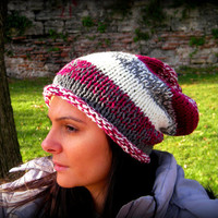 Crochet Hat Striped Slouchy Women ,women hat,women burgundy hat,winter accessories,one size,fits all