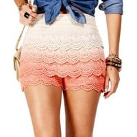 Peach Dip Dye Crochet Shorts
