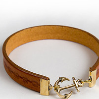 Profound Aesthetic Fused Dreams Genuine Leather Bracelet w Anchor Tan
