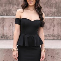 Black Off the Shoulder Bodycon Dress with Peplum Waist