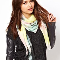 Pieces Marble Faded Print Scarf at asos.com