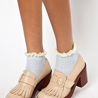 River Island Blue Light Cable Design Frill Ankle Sock at asos.com
