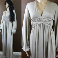 ViNtAgE 1970s peasant WEDDING GOWN gypsy goddess champagne maxi dress - XS c1063