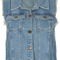 MOTO Vintage Sleeveless Jacket - Denim  - Clothing