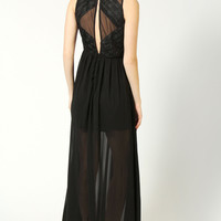 Rachel Ruched Bodice Detail Button Back Maxi Dress