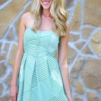 Headed To Emerald City Dress: Green/White | Hope's