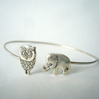 silver elephant and owl bracelet