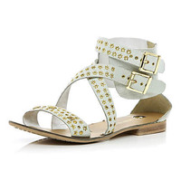 White studded strap gladiator sandals - sandals - shoes / boots - women