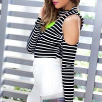 Black and White Striped Top with Back and Shoulder Cutout