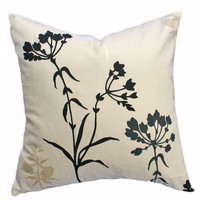Cream Decorative Throw Pillow with Wild Flower by PillowThrowDecor