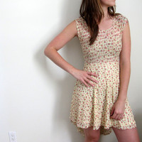 See Through Mini Dress Lace Hi Low High Lo Floral Print Sheer Yellow Sundress Babydoll