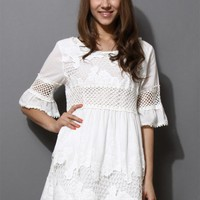 White Crochet Cut Out Lace Dress with Floral Embroidery