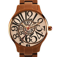 Betsey Johnson Watch, Women's Brown-Tone Stainless Steel Bracelet 39mm BJ00040-13 - Juniors Jewelry & Watches - Macy's