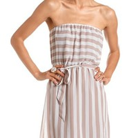 Belted Striped Chiffon Tube Dress: Charlotte Russe