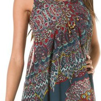 ANGIE BLUE PRINT TIE BACK DRESS | Swell.com